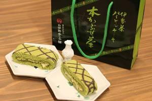 【本日のあまいモノ】中にパイ生地が挟まった、伊勢茶パイロールケーキ!イメージ
