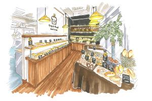 蔵出しパース〜パン屋さんのリブランディングイメージ