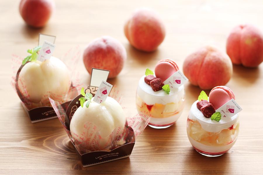 桃のケーキ写真