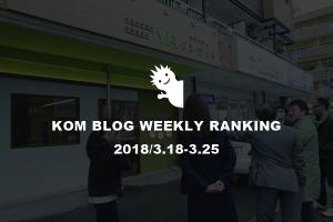 KOMブログ WEEKLYランキングTOP5! 2018/3.18-3.25イメージ