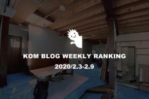 KOMブログ WEEKLYランキングTOP5! 2020/2.3-2.9イメージ