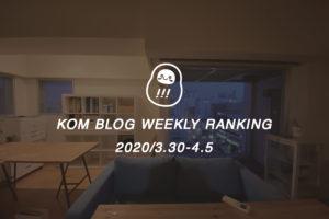 KOMブログ WEEKLYランキングTOP5! 2020/3.30-4.5イメージ