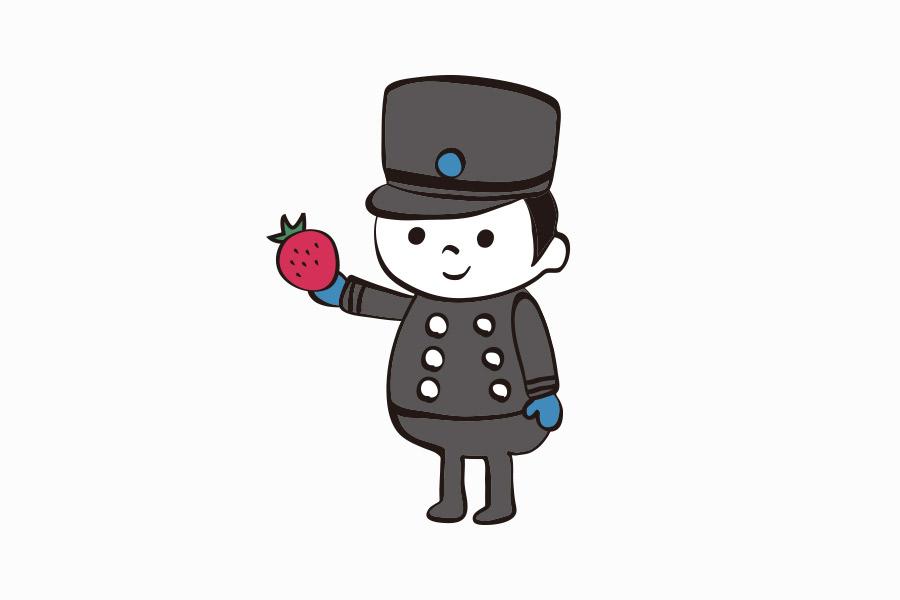 ケーキ屋のいちごキャラクターデザイン