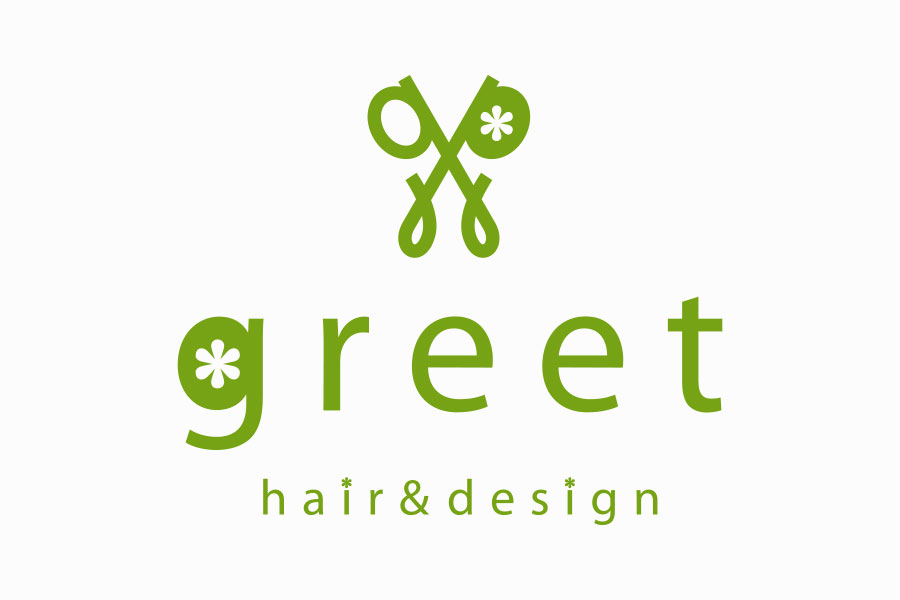 美容室のロゴマークデザイン_神奈川県相模原市 hair & design greet