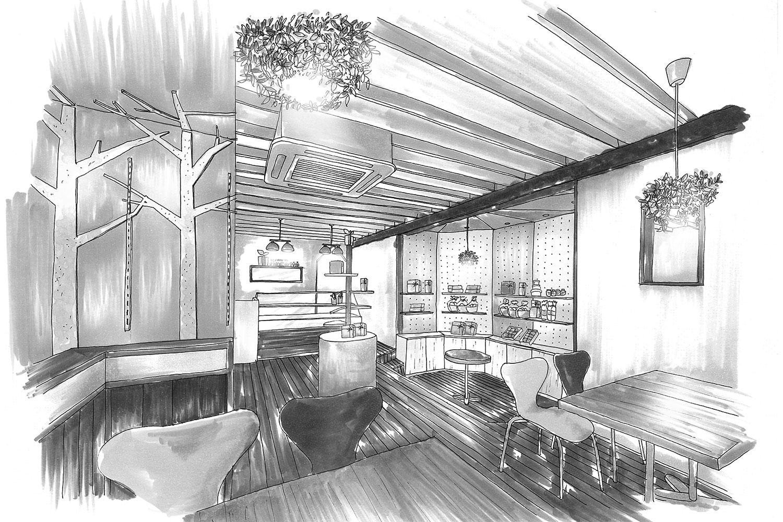 ケーキ屋の店舗デザイン_愛知県春日井市 cadeau de rincotté(カド・ドゥ・リンコット)