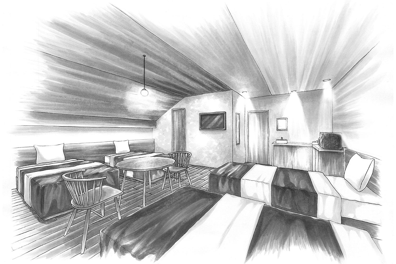 リゾートホテルの店舗デザイン_長野県北安曇郡小谷村 リゾートインヤマイチ2期工事
